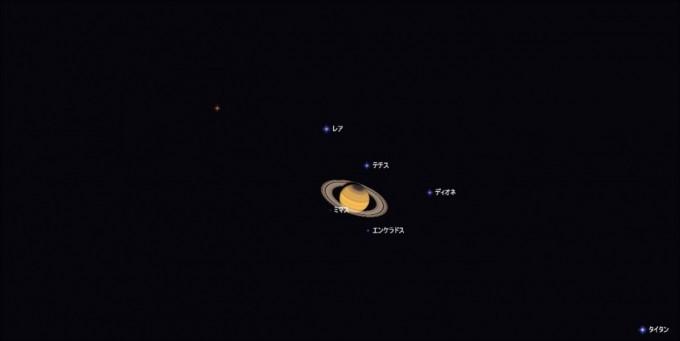 土星と衛星19時