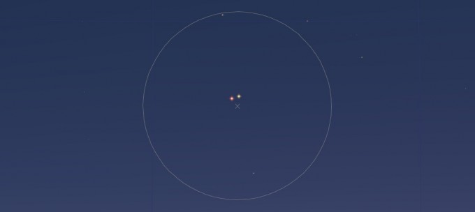 水星と火星視野角7度