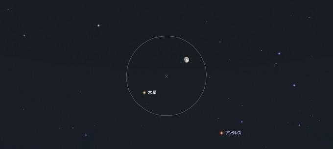 7月13日月と木星視野7度