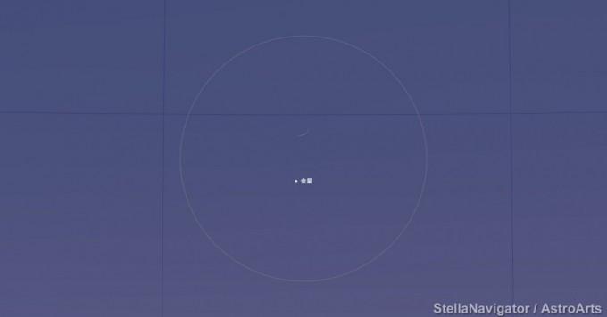 金星と月の接近拡大図